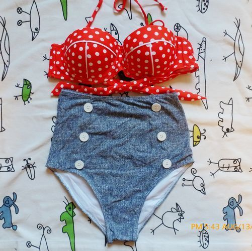 2013 New Retro Swimsuit Swimwear Vintage Push Up Bandeau High Waisted Bikini Set | eBay