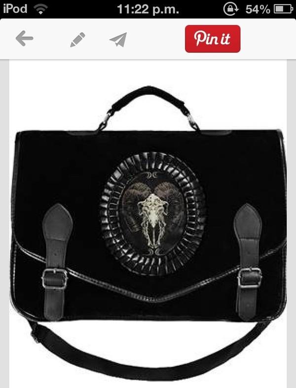 bag black skull velvet