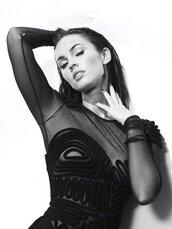 dress,megan fox,top-noir-transparent,transparent,transparent top,bodysuit,body,black dress