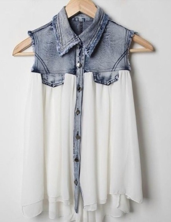 shirt clothes blouse white top denim denim top wavy pretty\