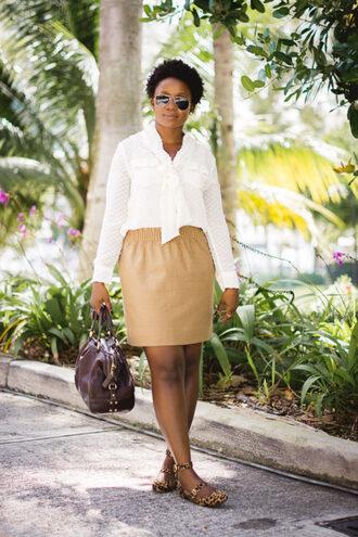 pinksole blogger sunglasses jewels top skirt shoes bag handbag white shirt flats beige skirt summer outfits