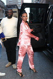 pajamas,satin,sandals,pants,blouse,karrueche,NY Fashion Week 2016,shoes,pink,pink pants,black girls killin it