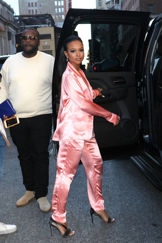 pajamas satin sandals pants blouse karrueche ny fashion week 2016 shoes pink pink pants black girls killin it