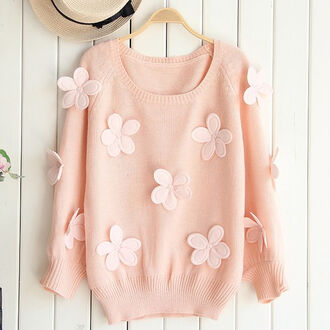 sweater oversized sweater pink angora daisy cute knitted sweater wood hat hoodie shirt floral