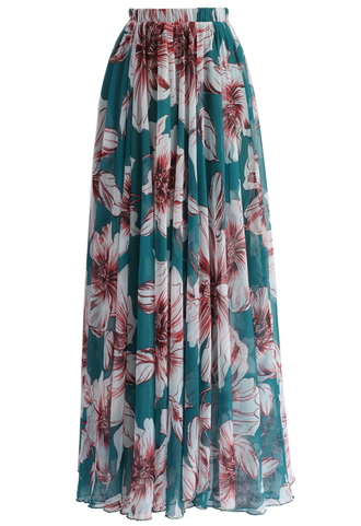 skirt marvel floral maxi skirt in turquoise chicwish maxi skirt floral skirt green skirt party skirt chicwish.com long party skirt
