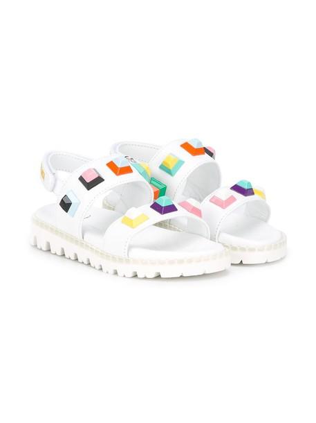 Fendi Kids studded geometric sandals studded sandals leather white 24 shoes