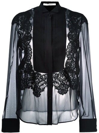 shirt sheer shirt pleated sheer black top