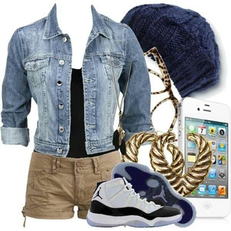 shoes denim jacket blue jean jacket jacket demin kicks jordans kicks with chicks chicks in kicks chicks with kicks shorts jewels hat blue white glasses skirt sunglasses