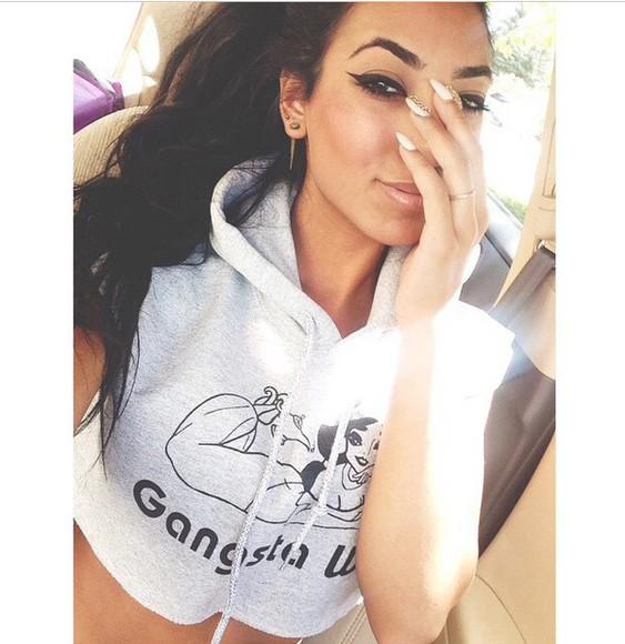 hoodie sweater gansta wife crop tops grey princess jasmine