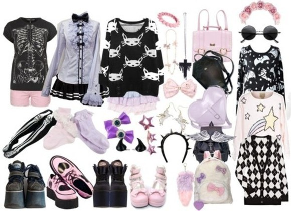 cute pastel pastel goth kawaii bag kawaii bag shirt clothes purple button up shirt bows creepers goth hipster outift frills