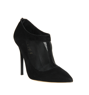 Office Steal Mesh Detail Shoeboot Black Suede - High Heels
