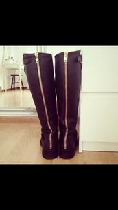 shoes,boots,black boots,zipper boots,knee high boots