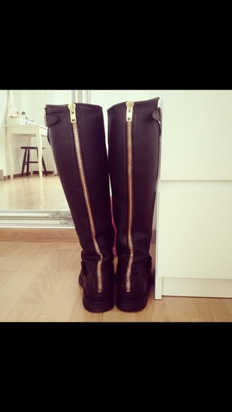 shoes boots black boots knee high boots zipper boots
