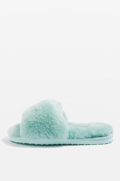Topshop sheepskin slippers mint shoes