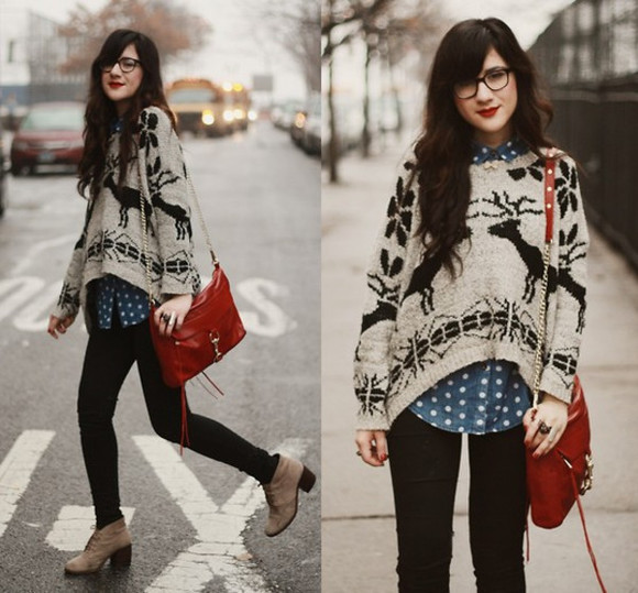 red bag shirt shoes polka dot shirt slight heel knit sweater black pants