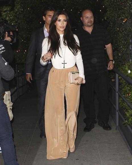 blouse silk kim kardashian champagne pants gold pants pants wide leg pants palazzo pants wide-leg pants wide pants silk pants highwaisted pants