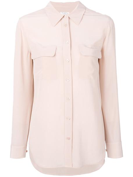 Equipment - Slim Signature shirt - women - Silk - L, Pink/Purple, Silk