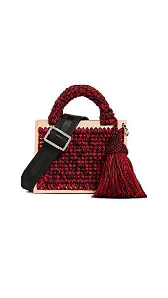 purse black brown red bag