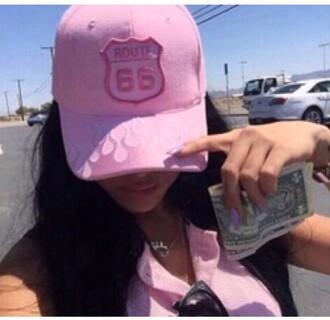 hat route 66 cap pink cap flames