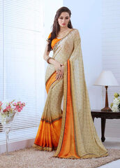 dress,beige color printed casual saree,casual sarees,women wear,ethnic wear,saree