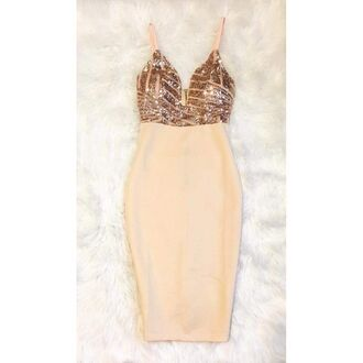 dress mini dress cocktail dress go hot glamour gold nude embellished embellished dress sequins sequin dress girly fashion style party dress