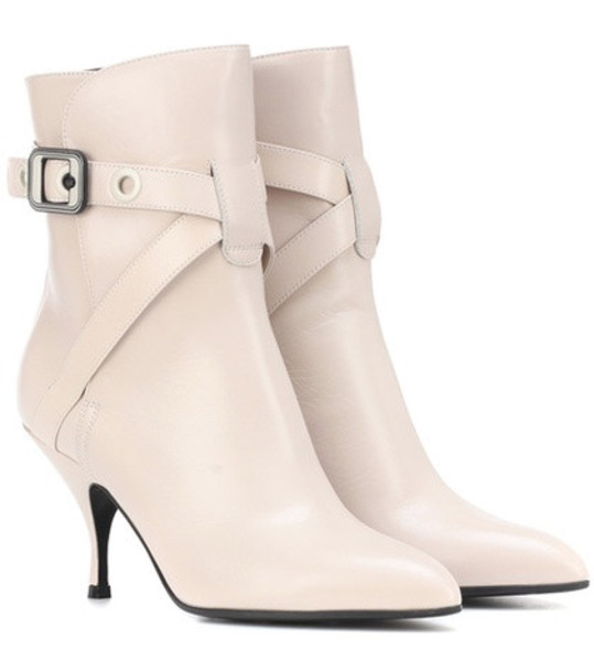 Bottega Veneta Moodec leather ankle boots in white