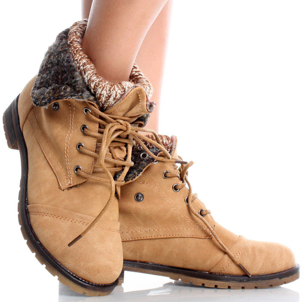 knit fold cuffed lace up combat booties flat
