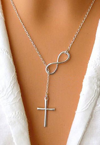 [grxjy5100223]Antique Silver Cross Pendant Chain Necklace