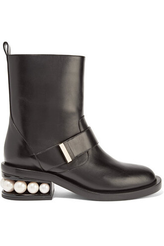 biker boots embellished boots leather black shoes