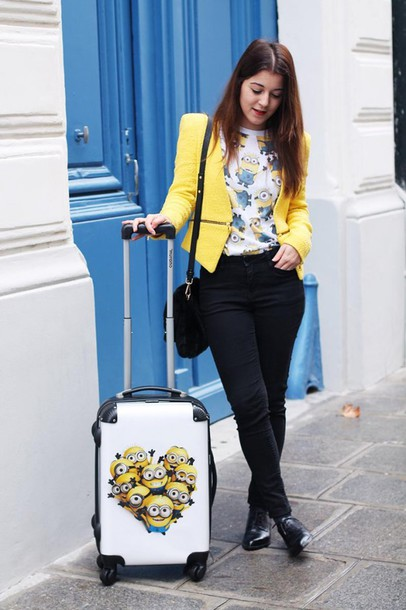 elodie in paris blogger jacket yellow minions suitcase jeans t-shirt bag shoes socks
