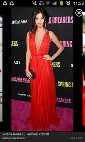 dress,prom,selena gomez,red,mesh panels,celebrity,selena gomez dress,red dress,red prom dress,prom dress,red carpet dress,long red dress