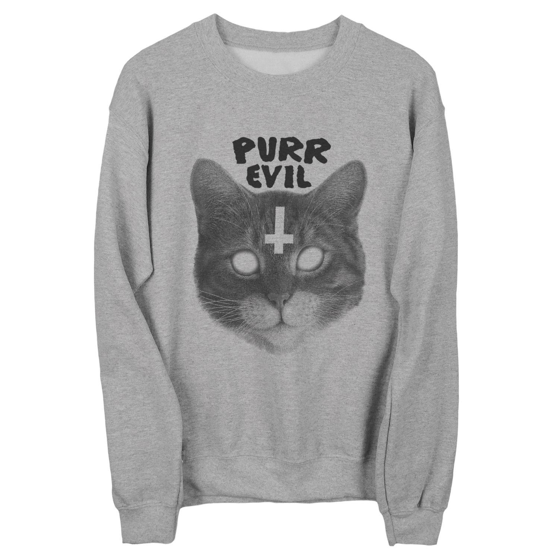 Purr evil cat sweatshirt unisex sizes s m l xl