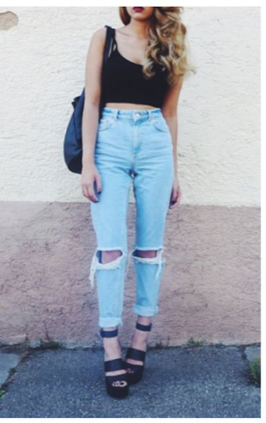 4adzvt-l-610x610-jeans-lamodauk-highwaisted-boyfriend jeans-ripped jeans-ripped-high waisted boyfriend jeans-black-crop tops-ombre hair-backpack-strappy  ...