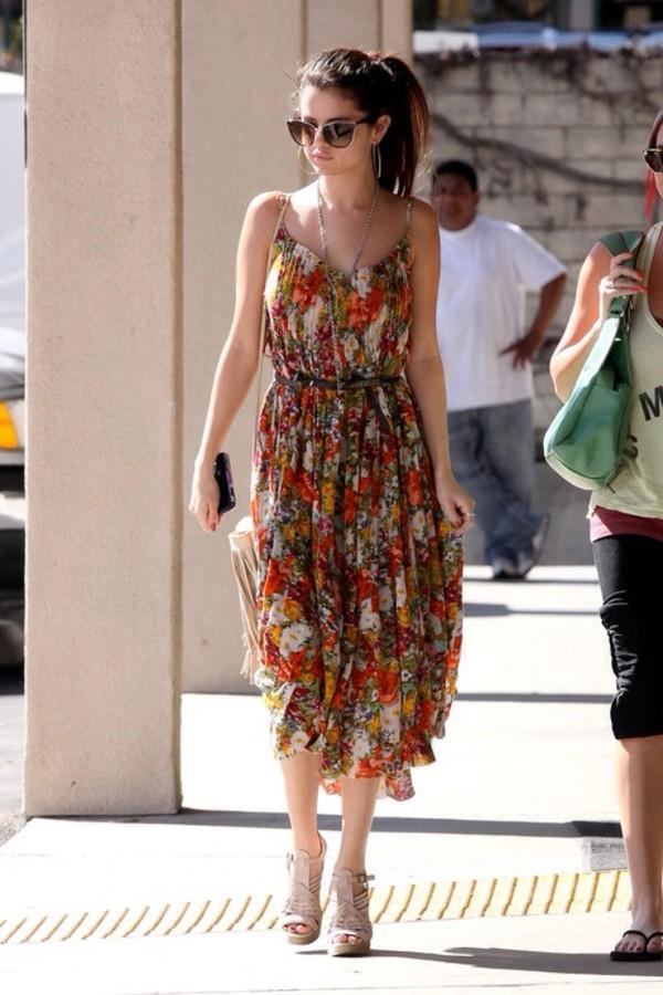 Dress Selena Gomez Floral Fall Colors Boho Bag