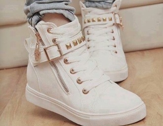 shoes white shoes cute shoes gold style gold sequins sneakers