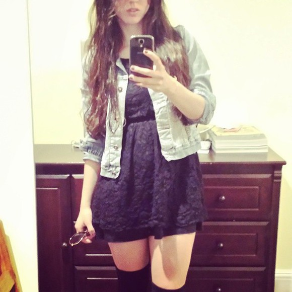 dress cute dress jacket grey kawaii dress cute overknees overkneesocks
