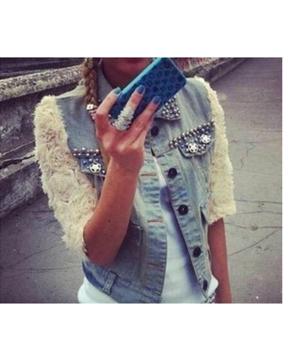 3d flower denim jacket 3d flower lace sleeve denim jacket vest