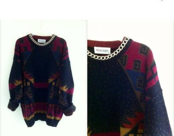 aztec chain longsleeve red blue yellow sweater