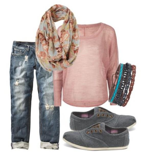 scarf pink top long sleeves long sleeves gray shoes denim capri jeans jeans capri capris bracelets shirt shoes