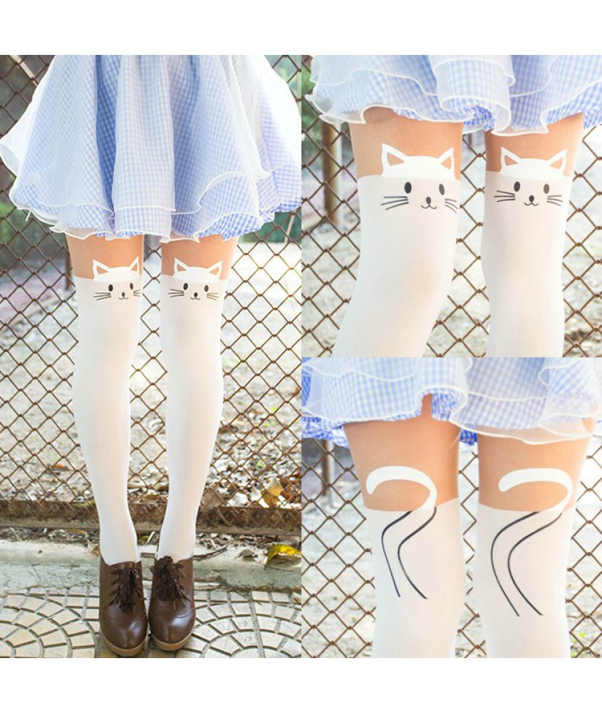 5940b0fa6abf7 socks, pastel, pink, cats, holdups, thigh highs, fake hold ups, girly,  tights, kawaii, it girl shop, cute, skirt, skirt, stockings, leggings, cat  leggings, ...