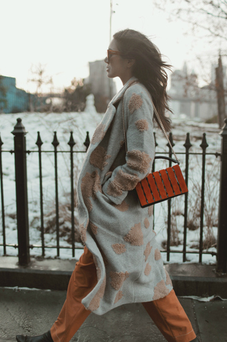 dylana suarez blogger coat bag top pants shoes sunglasses winter outfits shoulder bag orange pants