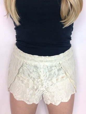 shorts lace shorts scalloped shorts high waisted shorts
