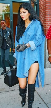 tencel dress    knee high boots,thigh high boots,oversized denim shirt dress,topshop,topshop denim,denim shirt,denim dress,oversized t-shirt,kylie jenner,kyliejenner jeans cute blue jeans,kardashians,shoes