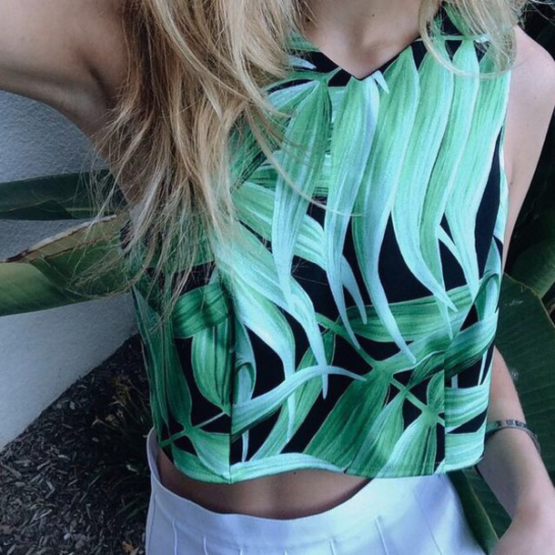 green leaves cropped tank top clothes top shirt print blouse leaf print palm tree print tropical tropical indie hipster instagram dope t-shirt