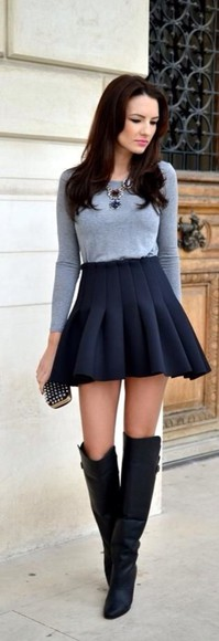 black casual skirt high