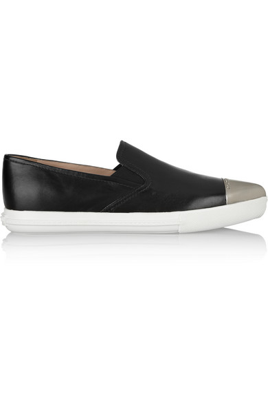 Miu Miu | Leather point-toe sneakers  | NET-A-PORTER.COM