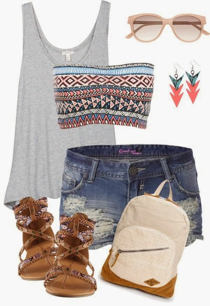 shoes sandals backpack bandeau shirt romper gray tanktop shorts