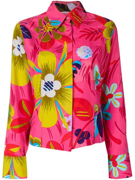 Gucci Vintage blouse women floral print silk purple pink top