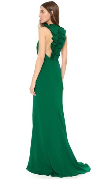 gown back ruffle dress