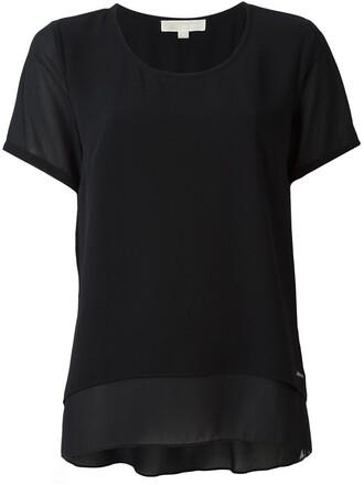t-shirt shirt back women slit layered blue top